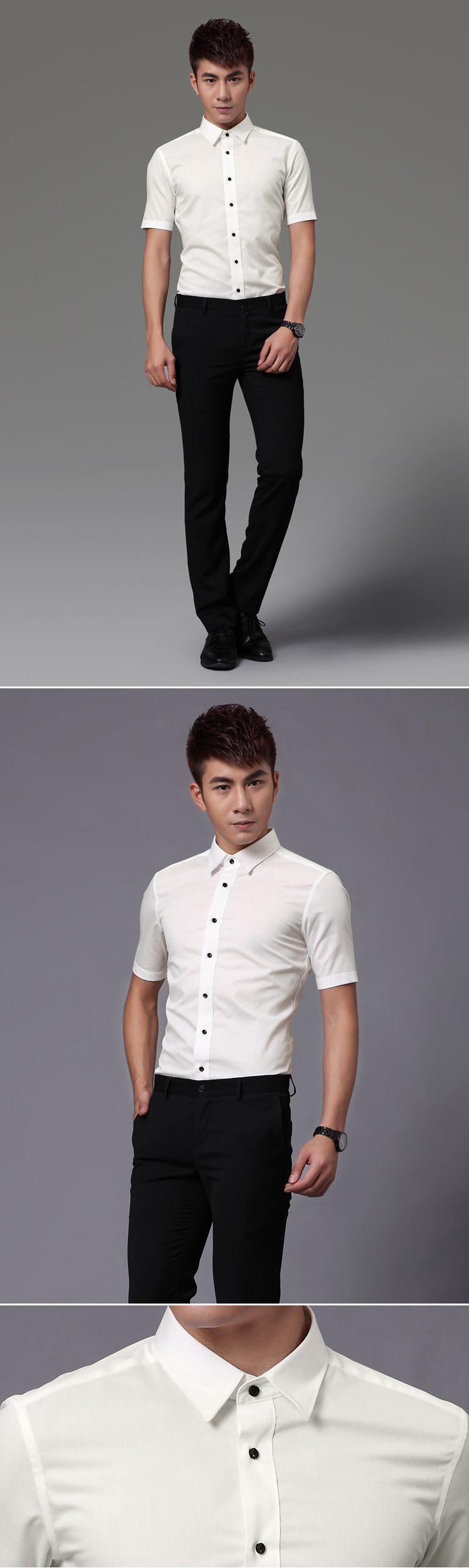 Ao so mi tron tay ngan Trang ASM533