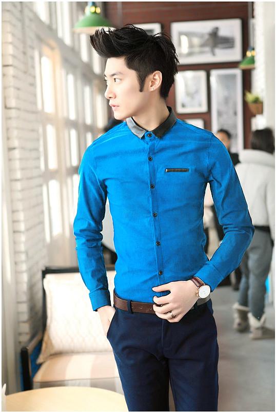 Ao so mi Xanh Duong phoi da ASM537