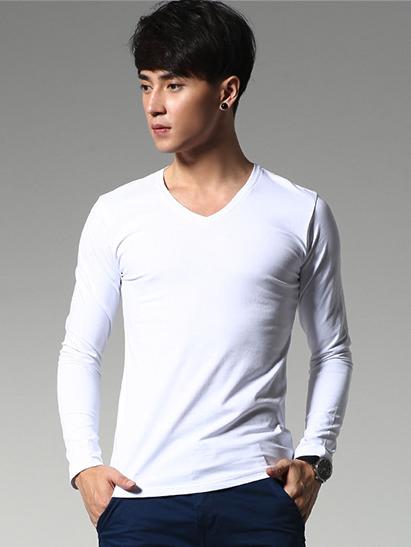 Ao Thun Tay Dai Tron Co Tim Trang AT542
