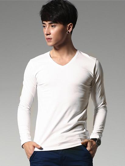Ao Thun Tay Dai Tron Co Tim Trang Kem AT542