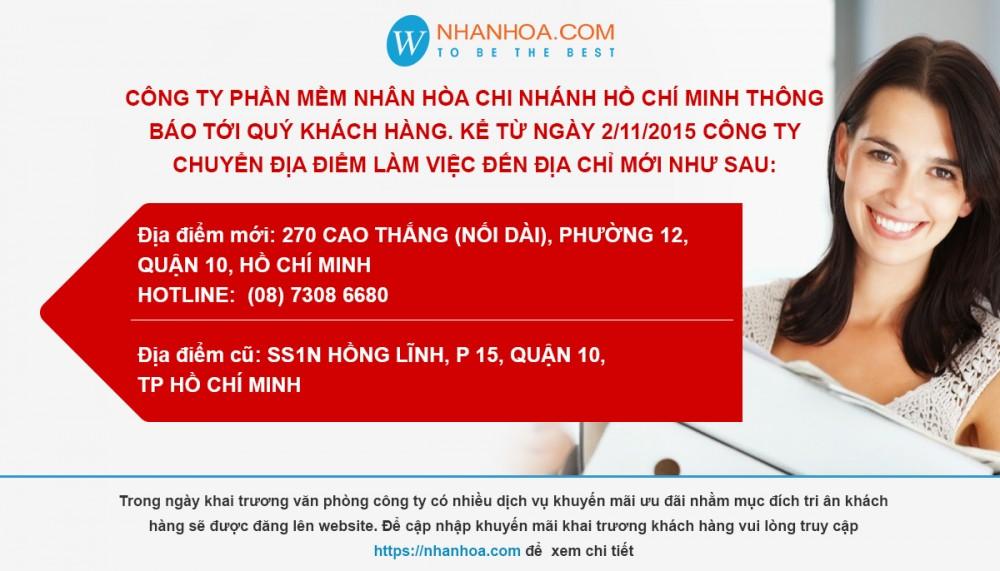 Cong ty Phan mem Nhan Hoa thong bao Thay Doi dia diem van phong chi nhanh tai TP HCM
