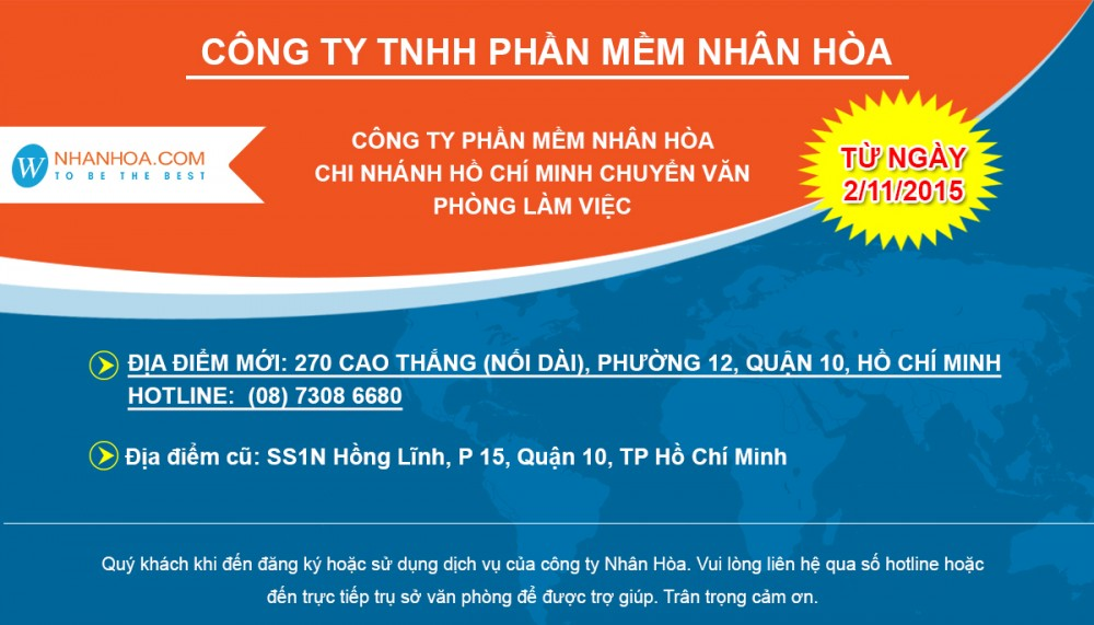 Thong Bao Cong ty phan mem Nhan Hoa chi nhanh TP HCM Chuyen van phong den dia diem moi