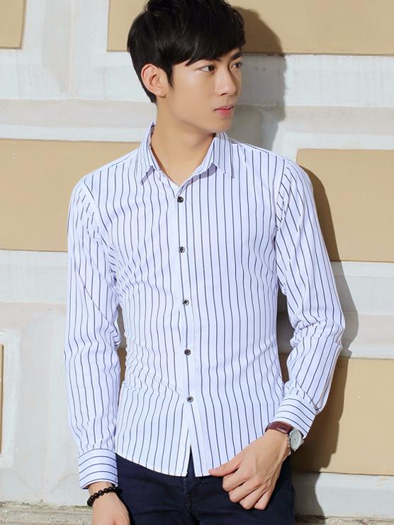 Ao So Mi Trang Soc Xanh Den ASM669