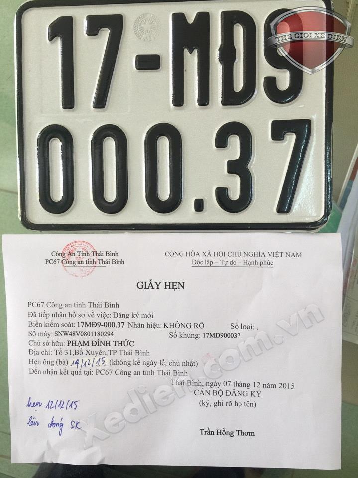 Ha Noi bat dau tien hanh dang ki xe dien 7122015