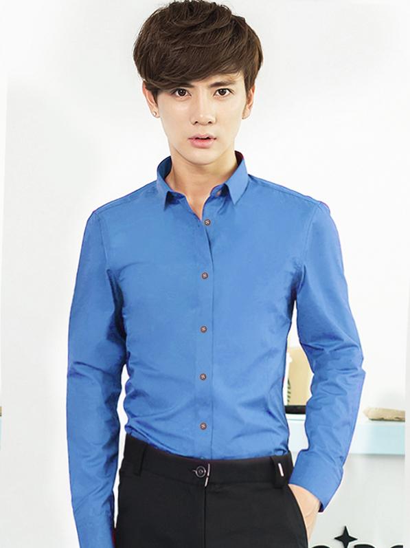 Ao So Mi Han Quoc Xanh Bien ASM709
