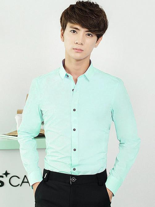 Ao So Mi Han Quoc Xanh Ngoc ASM709