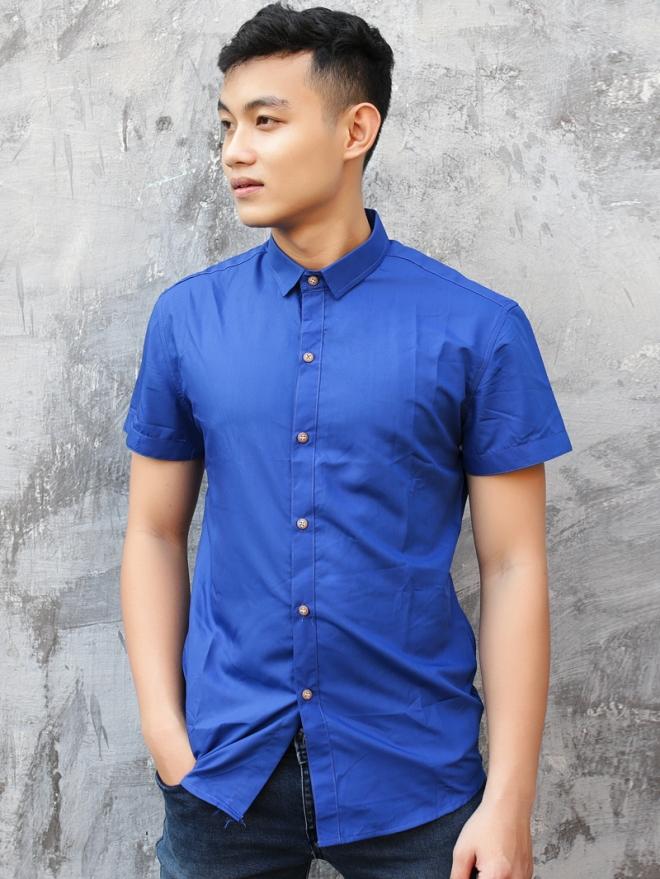 Ao So Mi Ngan Tay Xanh Bich ASM743