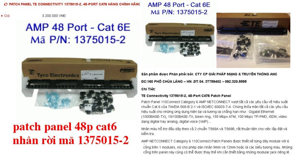 Patch Panel AMP 48Port CAT6 13750152 nhan roi Hang Chinh hangsi le so luong gia re cho khach du an