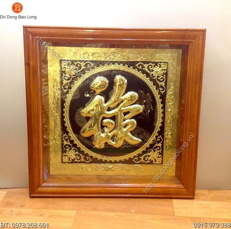 Tranh Chu Loc Bang Dong Khung Go 60cm