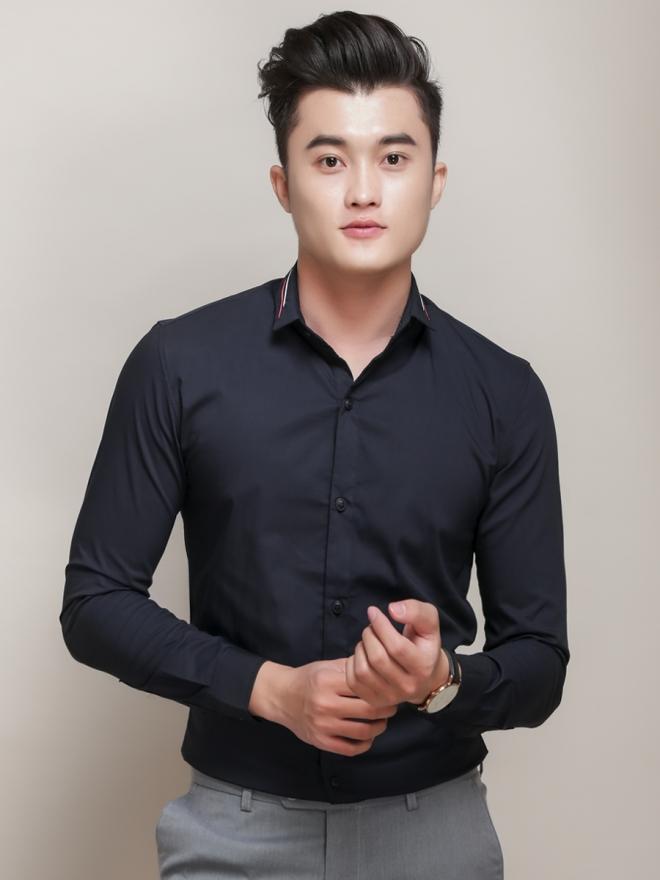 Ao So Mi Han Quoc Xanh Den ASM779