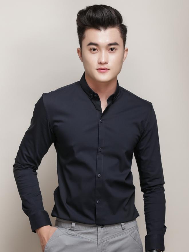 Ao So Mi Han Quoc Xanh Den Tron ASM777