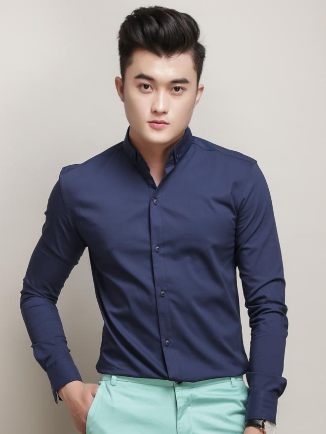 Ao So Mi Han Quoc Xanh Duong Dam Tron ASM777