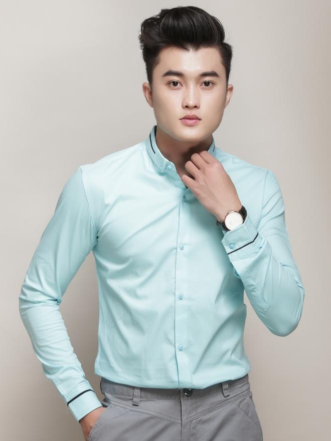 Ao So Mi Han Quoc Xanh Ngoc ASM775