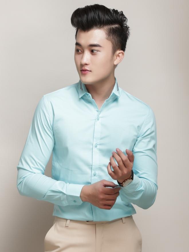Ao So Mi Han Quoc Xanh Ngoc ASM779