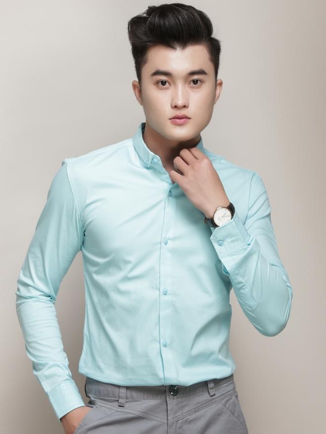 Ao So Mi Han Quoc Xanh Ngoc Tron ASM777