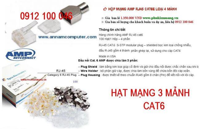 Dau bam mang RJ45 AMP Cat 6 3 manh chong nhieu Hat mang AMP Cat6 3 manh san hang giao toan quoc