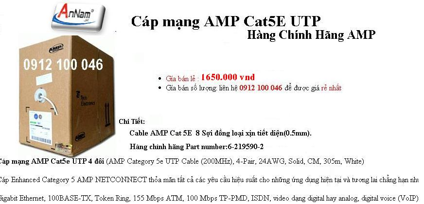 Day mang amp cat5 AMP Netconnect Cat5e UTP 62195902 AMP Cat5e UTP day cap mang chinh hang