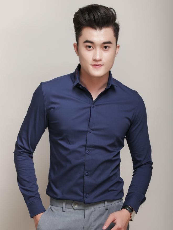 Ao So Mi Han Quoc Xanh Duong Dam ASM779