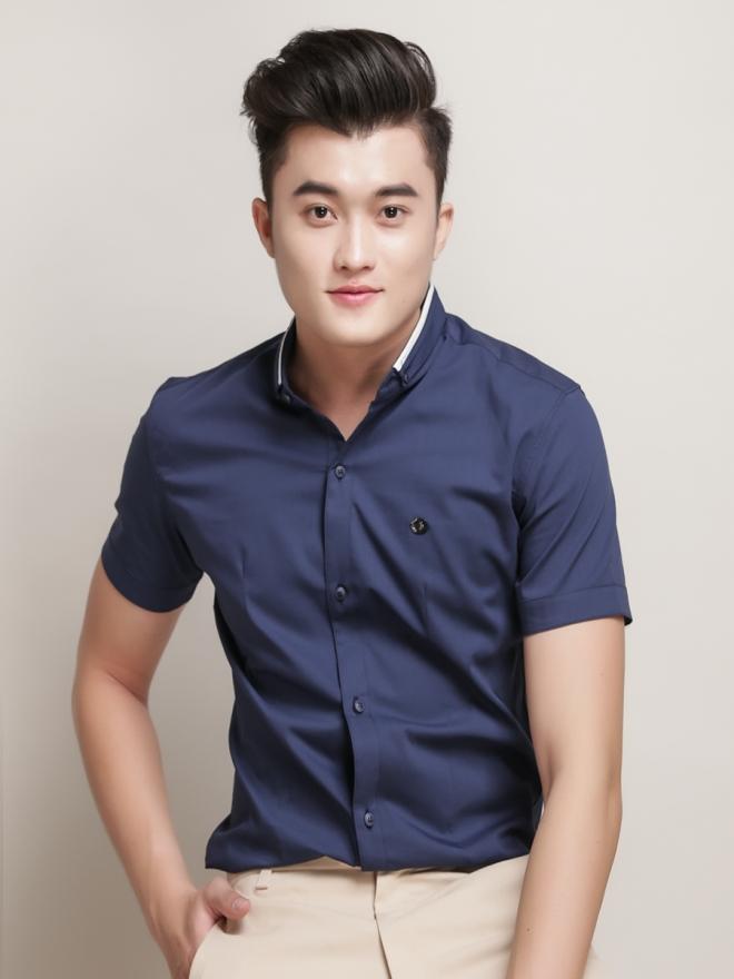 Ao So Mi Ngan Tay Xanh Den ASM776