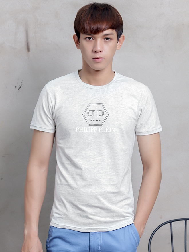 Ao Thun Co Tron Trang Kem AT598