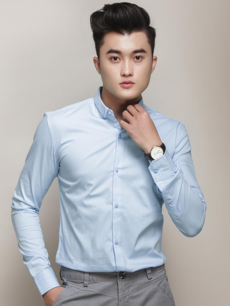 Ao So Mi Han Quoc Xanh Da Troi Tron ASM788
