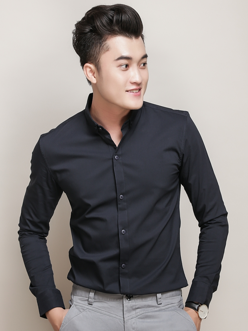 Ao So Mi Han Quoc Xanh Den Tron ASM788