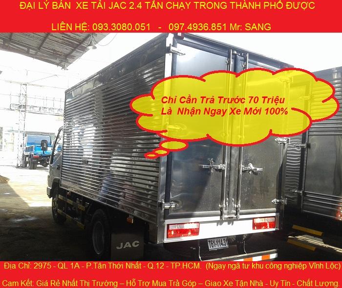Can ban xe tai jac 2 tan 4 chay trong thanh pho duoc xe jac 24 tan ban tra gop