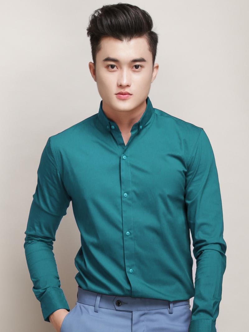 Ao So Mi Han Quoc Xanh Co Vit Tron ASM788