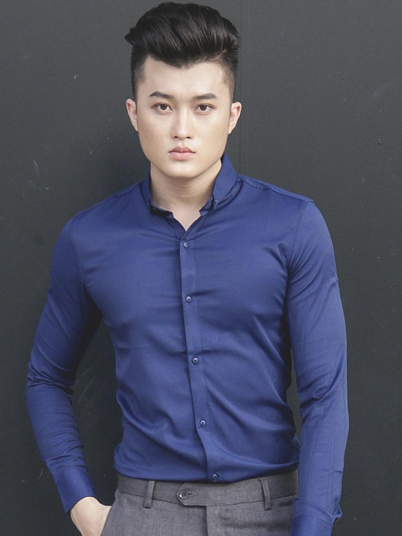 Ao So Mi Han Quoc Xanh Den Tron ASM790