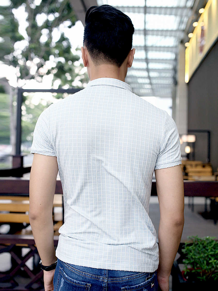 Ao Thun Co Co Ca Ro Xanh AT609