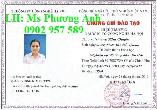 Hoc lay chung chi nghiep vu Huong dan vien du lich dung doi the