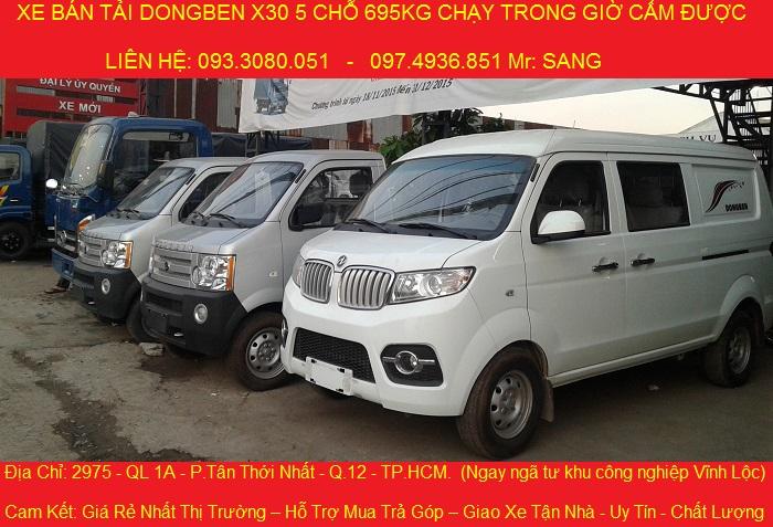 Xe ban tai dongben x30 5 cho ngoi tai trong 695kg co may lanh gia 279 trieu xe moi 100