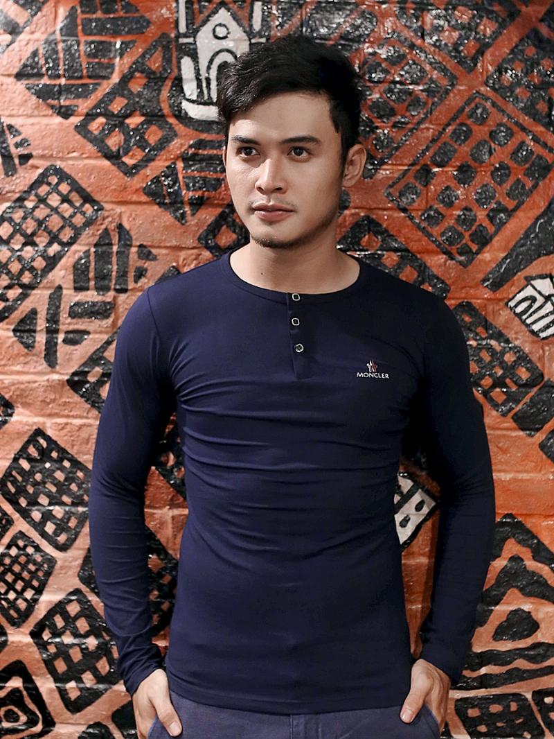 Ao Thun Co Co Nut Tay Dai Xanh Den AT611