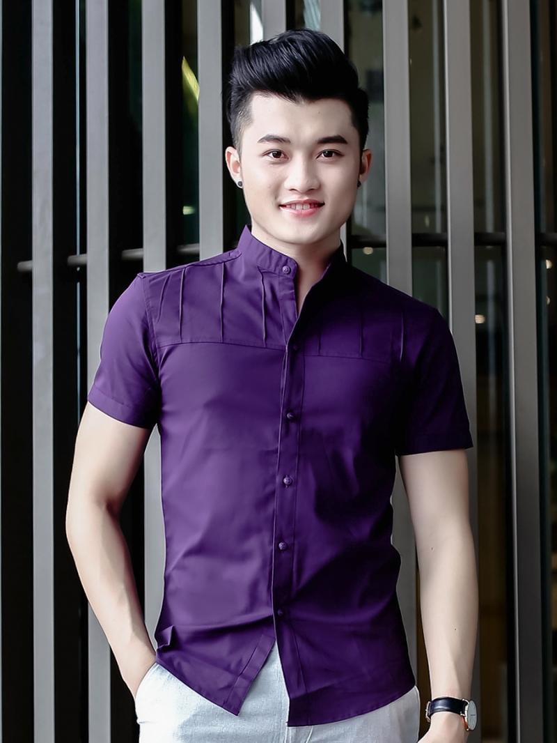 Ao So Mi Co Lanh Tu Ngan Tay Tim ASM798