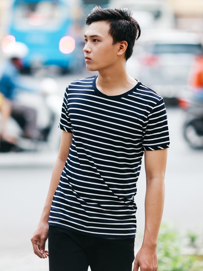 Ao Thun Co Tron Soc Xanh Den AT651
