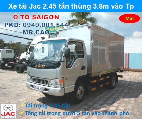 Ban xe tai jac 2t4 thung dai 3m7 vao thanh pho gia re chi can 80 trieu co xe dua ve