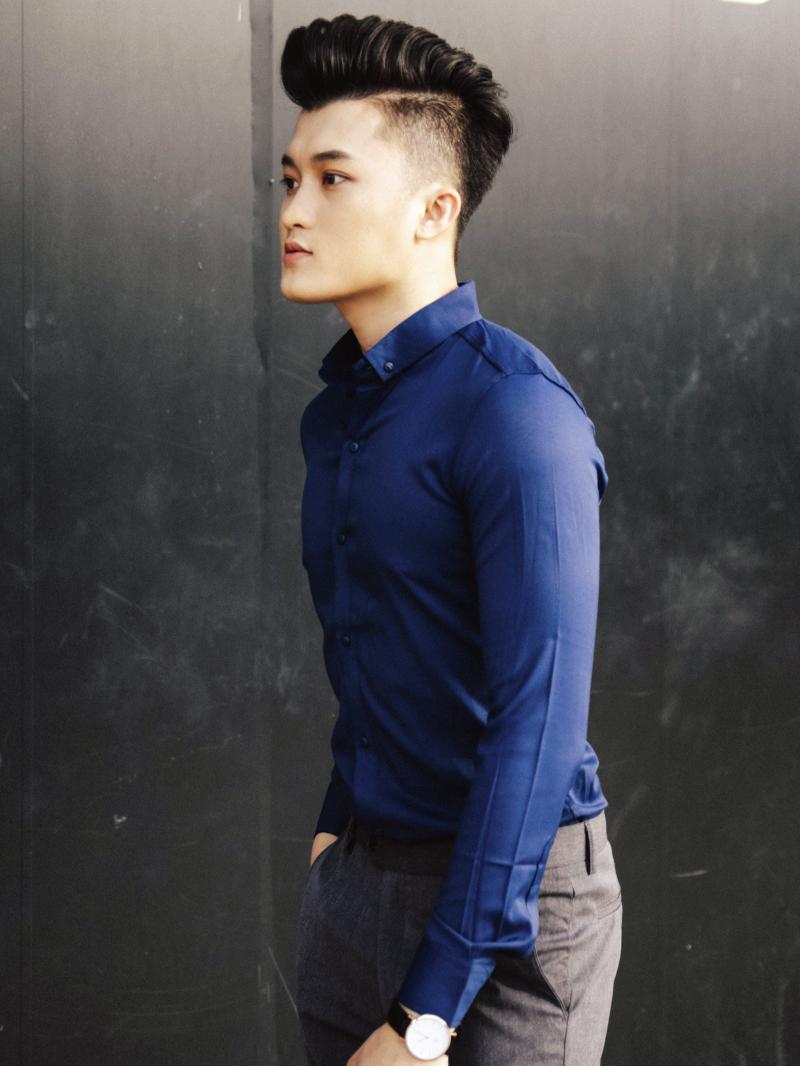 Ao So Mi Han Quoc Xanh Den Tron ASM843
