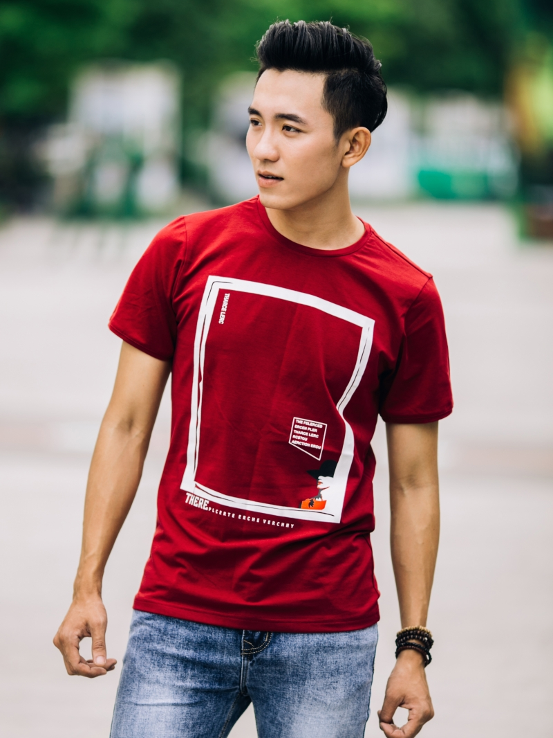 Ao Thun Co Tron Do Do AT650